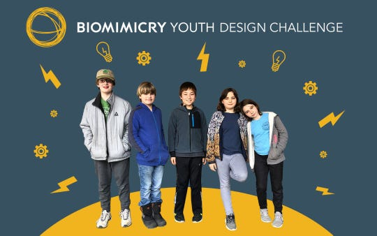 Rhinebeck students Ben Wheeler, left to right, David Curren, Alan Raitt, Lulu Pronto Breslin and Sunday Ault Nolan are donating the prize money they received in the Biomimicry Youth Design Challenge to Starr Library.