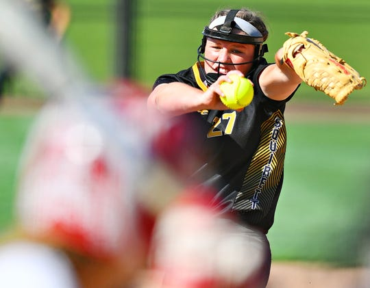 Delone Catholic's Maggie Rickrode pitches against Bloomsburg during PIAA Class 3-A softball quarterfinal action at Lebanon Valley College in Annville, Thursday, June 6, 2019. Bloomsburg would win the game 5-1. Dawn J. Sagert photo