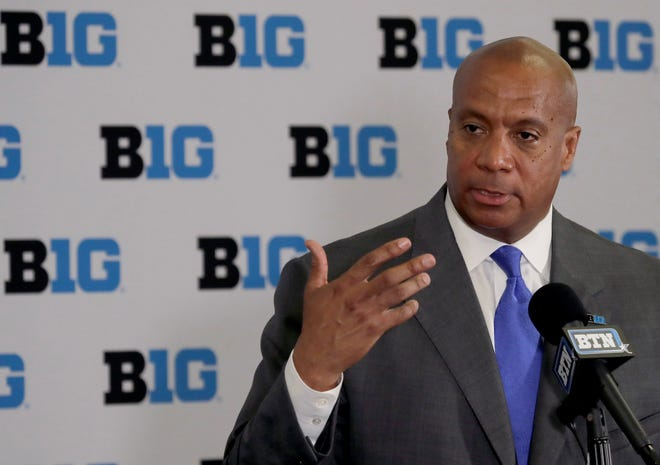 Minnesota Vikings chief operating officer Kevin Warren talks to reporters after being named Big Ten Conference Commissioner during a news conference Tuesday, June 4, 2019, in Rosemont, Ill. (AP Photo/Charles Rex Arbogast)