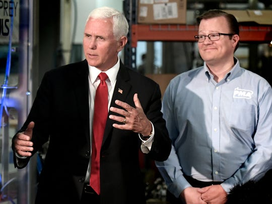 Vice President Mike Pence speaks during a tour at JLS Automation with David N. Taylor, president and CEO of the Pennsylvania Manufacturers' Association, during an appearance at the Springettsbury Township business Thursday, June 6, 2019. Bill Kalina photo