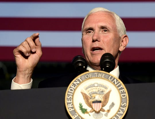 Vice President Mike Pence speaks during an appearance at JLS Automation while touring the Springettsbury Township business Thursday, June 6, 2019. Bill Kalina photo