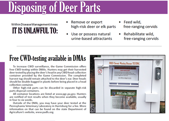 A portion of the Chronic Wasting Disease section of the Hunting Digest.