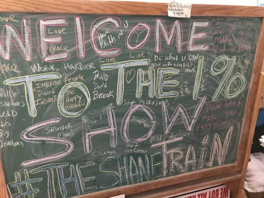 This blackboard served as the backdrop for de Garay's social media broadcasts and offers a glimpse into the mind of the Shane Train.