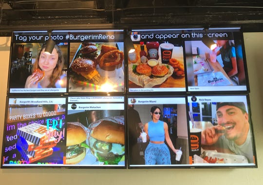 Customers at the new Burgerim in downtown Reno are encouraged to tag their social media posts with #BurgerimReno so the posts appear on the chain's social media feed.