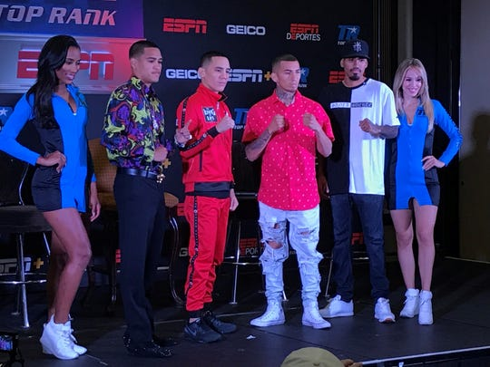 Boxers Gabe Flores, Oscar Valdez and Jason Sanchez at Thursday's press conference at the Atlantis Resort Casino.