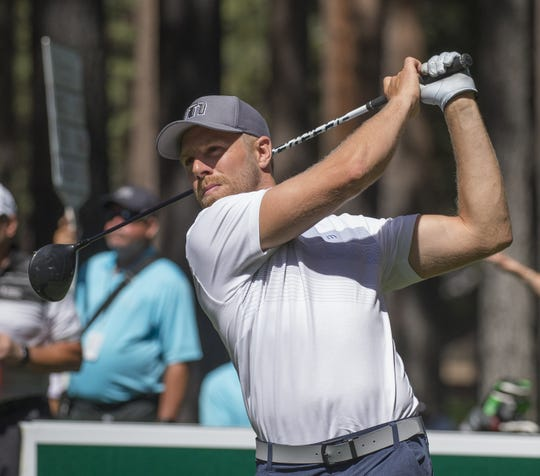 Joe Pavelski hits a tee shot on the fourth hole during the American Century Championship at Edgewood Tahoe Golf Course in Stateline on  July 14, 2018.