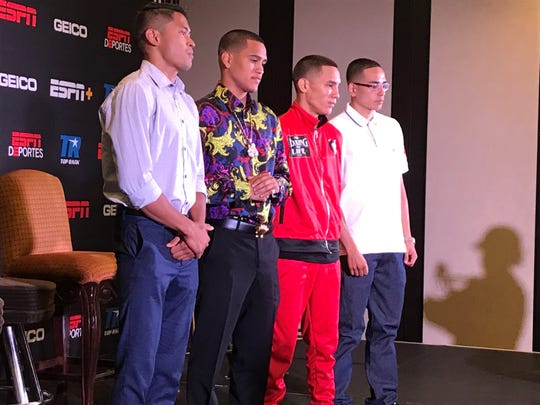 Boxers JJ Mariano, Gabe Flores Jr, Oscar Valdez and Diego Elizondo at Thursday's press conference at the Atlantis Resort Casino.