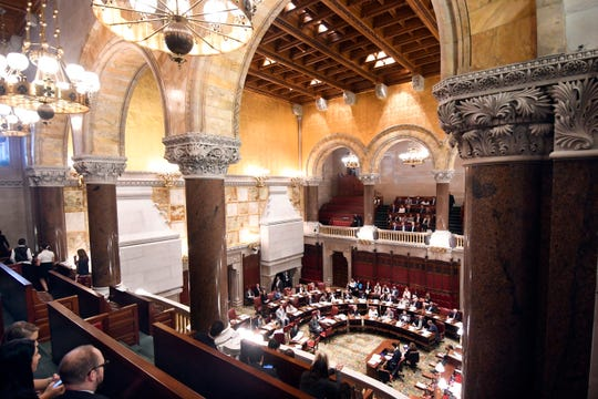 Members of the New York Senate debate legislation at the state Capitol on Tuesday, June 4, 2019, in Albany, N.Y.