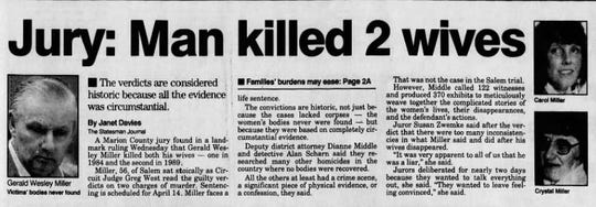 A March 18, 1993, Statesman Journal story following Gerald Miller's murder conviction.