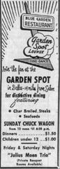 An advertisement for the Blue Garden that appeared in The Capital Journal on October 19,1962.