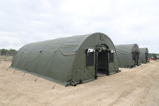 The U.S Border Patrol has constructed several compact all-weather mobile shelter systems to handle capacity issues at the Eagle Pass Station in June 2019.