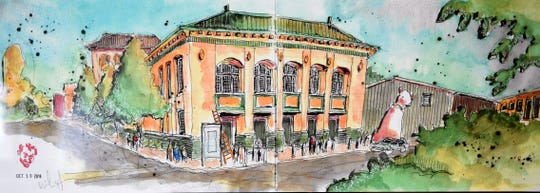 """Bossier Parish Community College will host """"Greetings from Shreveport/Bossier City – Urban Sketches by a Local Tourist,"""" an art exhibit by artist and architect Mike McSwain, from June 20 through July 19 in the Donna Service Art Gallery, located on the College's campus."""