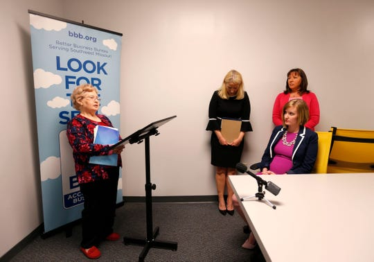 Janice Mitchell, a timeshare owner seeking to exit her timeshare, speaks about losing thousands of dollars to a timeshare exit company during a press conference in Springfield on Thursday, June 6, 2019.