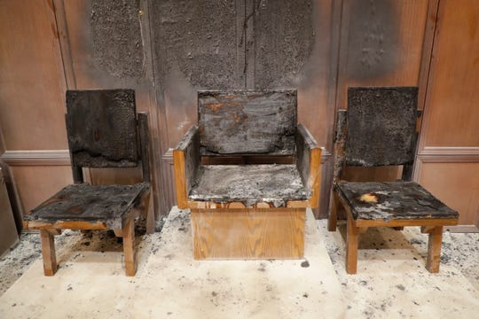 Cathedra and presider's chairs inside the Co-Cathedral of St. Thomas More were destroyed by an arson Wednesday afternoon.