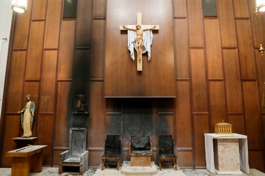 An arson occurred inside the Co-Cathedral of St. Thomas More Wednesday afternoon, destroying four cathedra and presider's chairs, a bishop's crest and charring the walls.