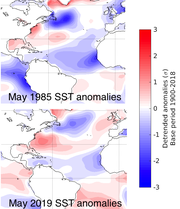 Comparison of 1985 and 2019 anomalies.