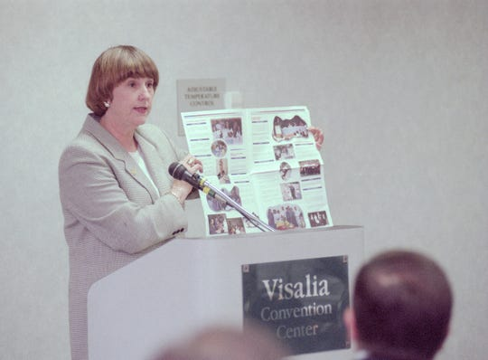 Linda Gonzales, the new Superintendent for Visalia Unified in June of 1998, shows a mailing that was the basis of an investigation of her by the Fair Political Practices Commission.