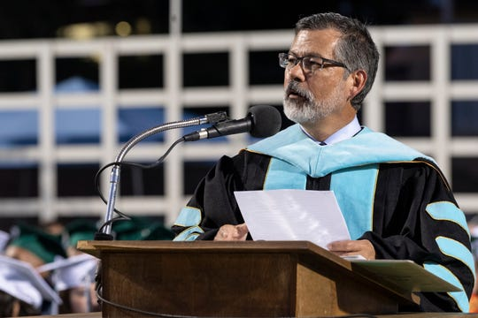 Superintendent Todd Oto speaks during the El Diamante High School Commencement Ceremony at Mineral King Bowl on Tuesday, June 4, 2019.