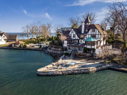 This classic waterfront Tudor on the Rye waterfront, was once owned by folk singer Paul Stookey, one third of the Peter Paul and Mary trio.