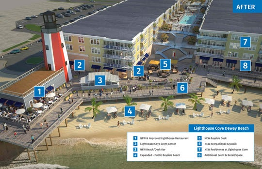 The completed Lighthouse Cove project will include a restaurant, event center, luxury condominiums and baywalk.