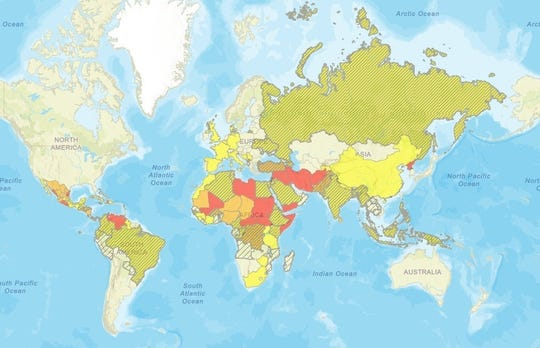 The U.S. State Department has an interactive map online that shows which countries are safe, or risky, to travel to.