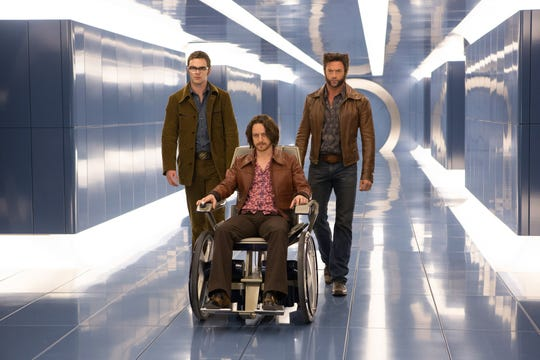 """Original """"X-Men"""" star Hugh Jackman joined the newer actors Nicholas Hoult and James McAvoy in """"Days of Future Past."""""""