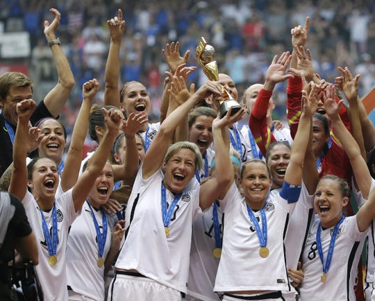 The U.S. Women's National Team celebrates winning the World Cup in 2015.