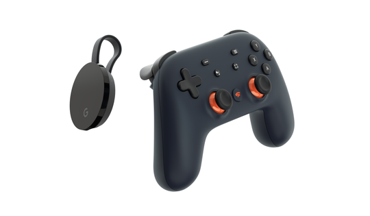 The Google Stadia controller and Chromecast Ultra to connect to Google's video game streaming service. The Stadia controller (priced separately at $69) uses WiFi to connect directly to the game running in the data center and comes with two buttons for quick access to capture footage and the Google Assistant.