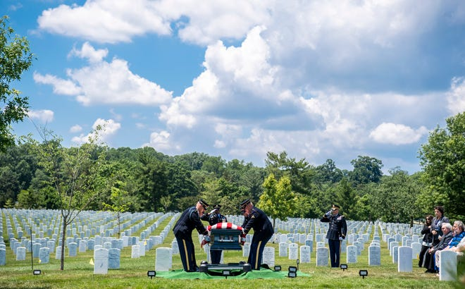 U.S. Army World War II veteran Carl Mann of Evansville, Ind., is buried at Arlington National Cemetery on June 6, 2019 in Arlington, VA.