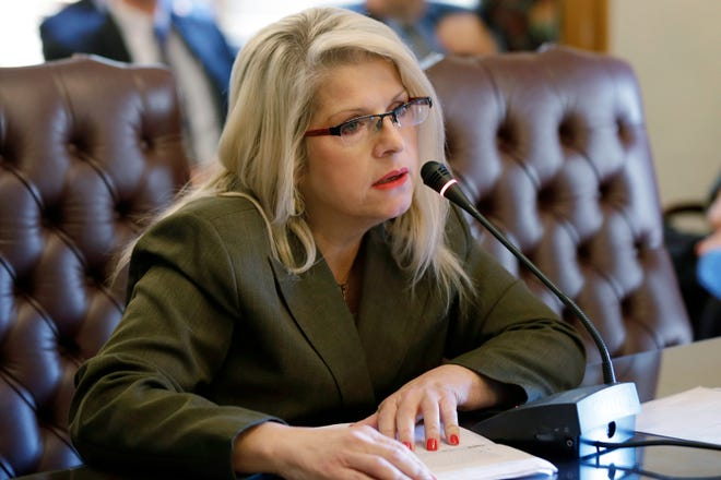 In this Jan. 28, 2015 file photo, Sen. Linda Collins-Smith, R-Pocahontas, speaks at the Arkansas state Capitol in Little Rock, Ark. Authorities in Arkansas say they're investigating a homicide after remains were found outside the home of the former state senator who Republican Party officials say is dead.