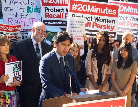 California state Senate president Kevin De Leon calls for the removal of Santa Clara County Judge Aaron Persky at a protest outside the Santa Clara County Jail in San Jose, Calif., on Sept. 2, 2016. Persky sentenced Brock Turner to six months in jail. Turner served three.