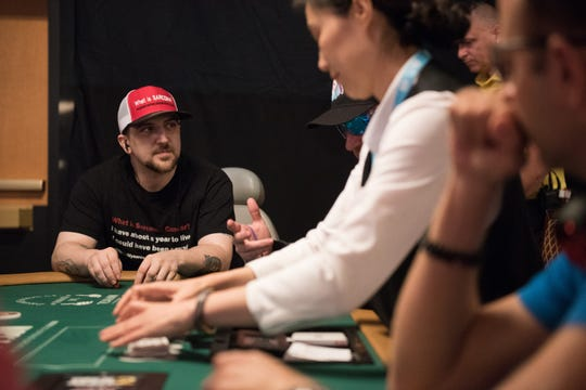 Kevin Roster hopes to advance far enough in the World Series of Poker to spread his message to audiences through ESPN's broadcasts of the tournament.