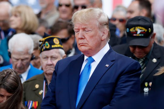 President Donald Trump participates in a ceremony to commemorate the 75th anniversary of D-Day at the American Normandy cemetery, Thursday, June 6, 2019, in Colleville-sur-Mer, Normandy, France.