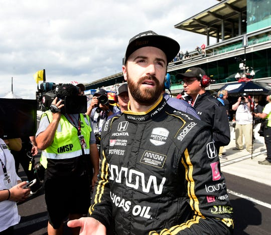 James Hinchcliffe, shown here at the 2019 Indianapolis 500, really wants NBA star Kawhi Leonard to stay with the Toronto Raptors.