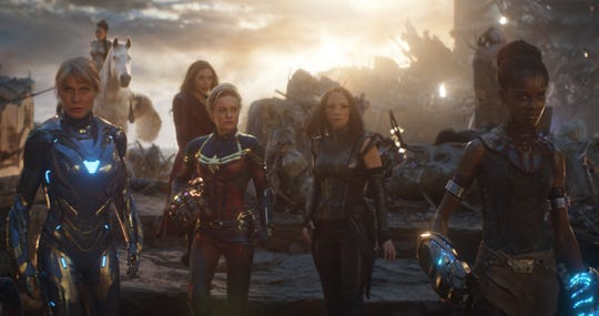 "Brie Larson (center left) would love to re-create this all-female ""Avengers: Endgame"" scene (with Gwyneth Paltrow, Tessa Thompson, Elizabeth Olsen, Pom Klementieff and Letitia Wright) in Marvel's future."