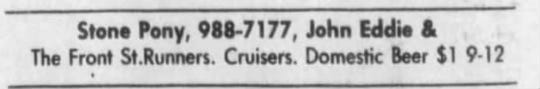Asbury Park Press advertisement for John Eddie & the Front Street Runners and the Cruisers. The Cruisers were bumped from the bill that night so that Bruce Springsteen and the E Street Band could play a warm-up show for the Born in the U.S.A. tour.