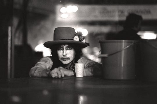 """Bob Dylan in a photo by Ken Regan in the film """"Rolling Thunder Revue: A Bob Dylan Story by Martin Scorsese."""""""