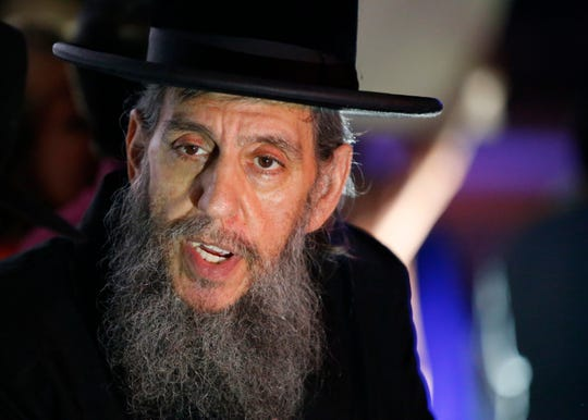 Rabbi Yehuda Levin led protesters voice their opposition to Pride Night at Blue Claws baseball stadium in Lakewood,NJ. 