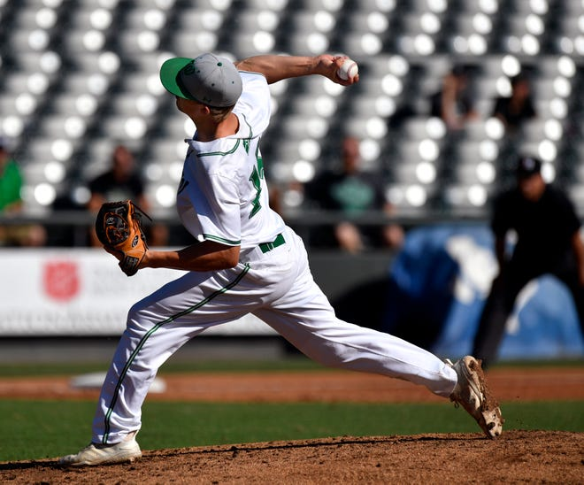 Wall pitcher Caleb Heuertz delivers the heat during Friday's UIL Class 3A state semifinal game against Kirbyville on June 7, 2019. Wall won at Round Rock's Dell Diamond, 5-4.