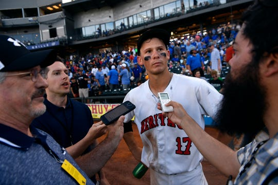 Bobby Witt Jr. is interviewed by reporters after Thursday's UIL Class 5A state semifinal game between his Colleyville Heritage team and Corsicana. Witt was picked second in the Major League Baseball draft by the Kansas City Royals.