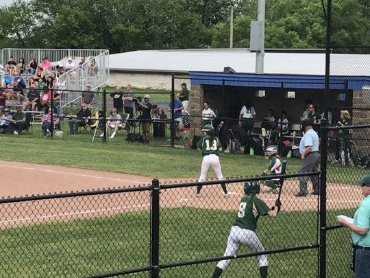 Vestal's Sam Berube prepares to hit in the first inning of Thursday's Section 4 Class A first-round state playoff game against Minisink Valley at Middletown High. Berube had two hits in the Golden Bears' 6-5 loss in eight innings.