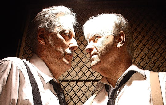 """Nick DeLucia, left, and Mike Arcesi star as Gus and Ben, respectively, in """"The Dumb Waiter"""" by Harold Pinter, as part of  """"4 2 1: 4 Actors, 2 Plays 1 Night"""" at Know Theatre in Binghamton."""