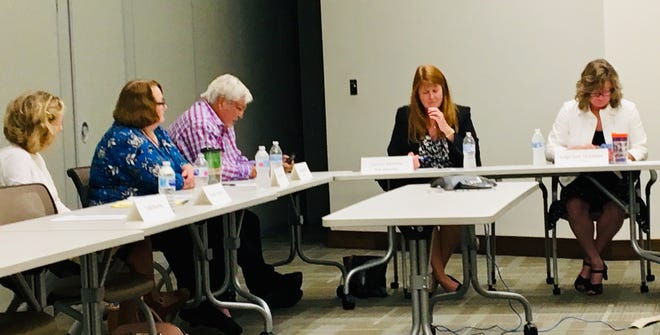 """The Children's Service Council of Brevard County met Wednesday to discuss an ongoing legal dispute with the County Commission. From left are Children's Services Council members Sharon Underill and Marilyn """"Bunny"""" Finney, Vice Chair Adrian Laffitte, attorney Kim Rezanka and Chair Kelly McKibben."""