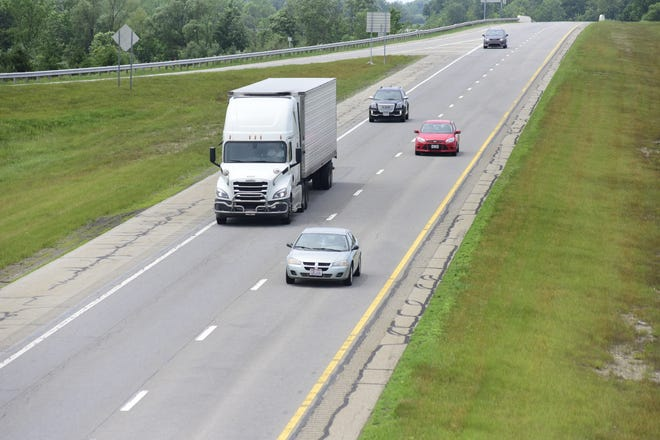 Motorists drive eastbound along U.S. 30 in Crawford County.