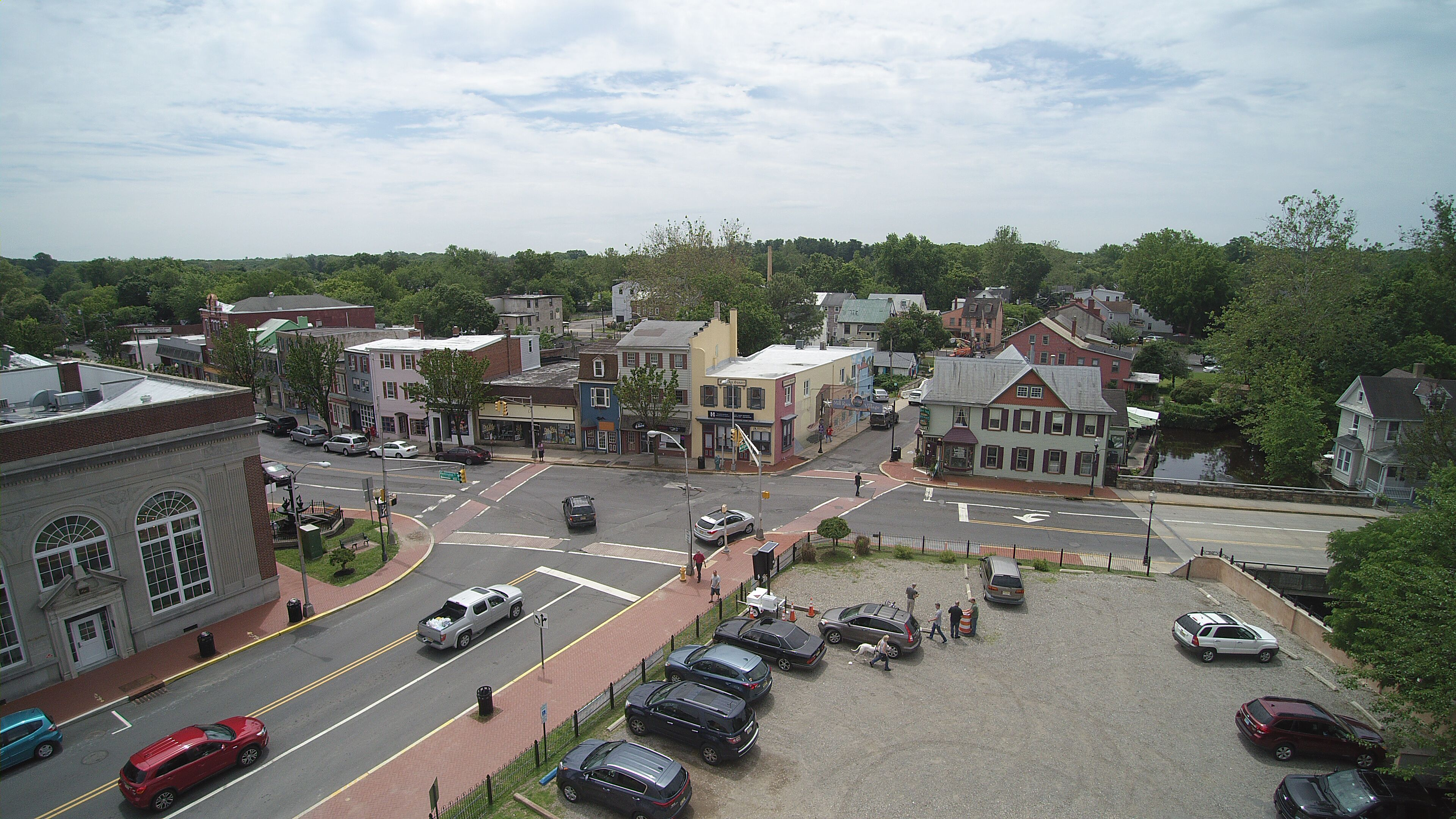 Parking lot at the main Mount Holly downtown intersection at High and Washington streets is the site of the town's first farmers market opening Thursday, June 12, 2019.