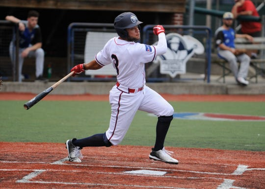 Collin Luty swings at a pitch against the Terre Haute Rex in a 10-3 win on June 6. Luty hit two home runs and had seven RBIs as he helped lead the Paints to a 17-6 win over West Virginia on Friday.