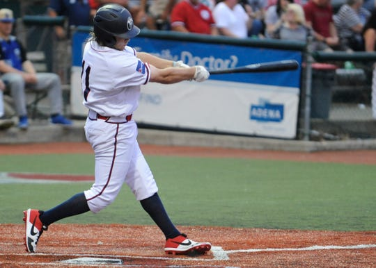 Chillicothe Paints outfielder Trey Smith swings at a pitch during the Paints 10-3 win over Terre Haute on June 6, 2019. Smith has been one of the hottest bats for the Paints and in the entire Prospect League so far this season.