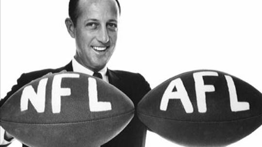 Pete Rozelle announced the merger of the NFL and AFL.