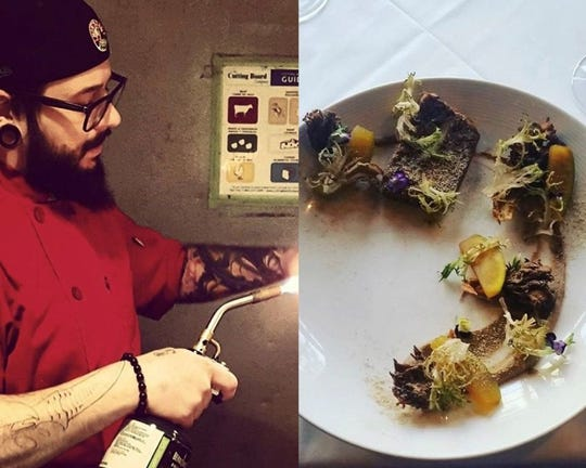 On the left, Ricky Stevens torching an orange. On the right, 50 day dry-aged beef, shiitake mushroom fermented garlic terrine, maitake crisp, coffee apple balsamic pickled apple, charred frisee, mushroom fermented garlic mustard and shiitake powder