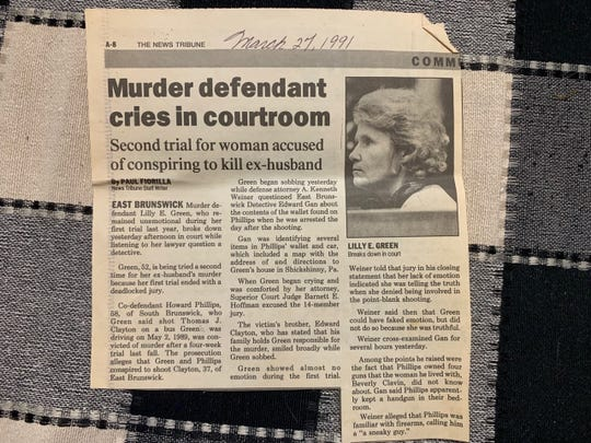 A News Tribune story on the 1991 murder trial of Lilly Green of East Brunswick,  a bus driver, who was convicted of killing her husband Thomas Clayton